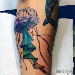 tatuaje medusa acuarela