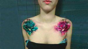 tatuajes en la clavicula de flores
